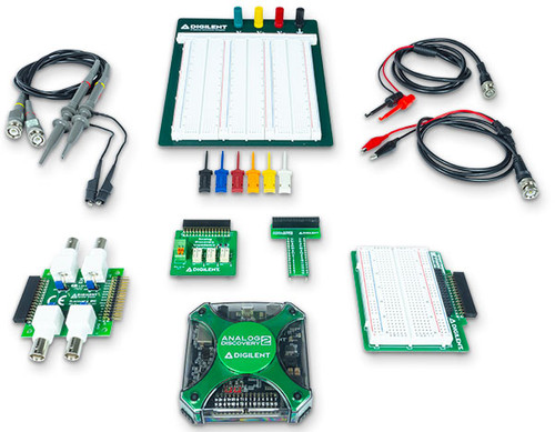 Product image of the Analog Discovery 2 Ultimate Bundle, which includes all of the following products: Analog Discovery 2, BNC to Alligator Clip Cables (2-pack), BNC to Minigrabber Cables (2-pack), Ribbon Cable, Analog Discovery 2, Large Digilent Breadboard, BNC Adapter, Breadboard Adapter, Breadboard Breakout, Impedance Analyzer, Oscilloscope probe set, mini-grabbers test clips (6-pack) and a jumbo sized plastic case.   Note: the mini-grabbers that are received may be different than those that are pictured.