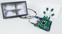 ZedBoard Advanced Image Processing Kit demonstrating the setup with the 4 Pcam bundle (ribbon cables, USB cable, and power supply are included) . The screen display is not included.