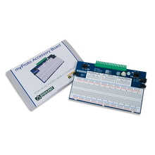 Product image of the myProto Protoboard for NI myDAQ & myRIO displayed next to its custom protective packaging.