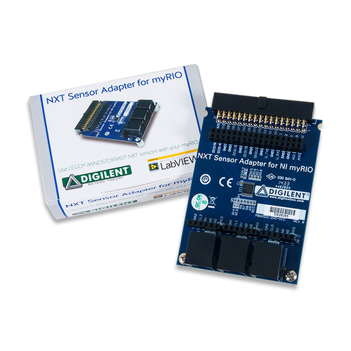 Product image of the NXT Sensor Adapter for NI myRIO displayed next to its custom protective packaging.
