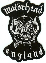 Motorhead Iron-On Patch White England Logo