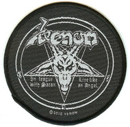 Venom Sew On Patch In League With Satan Pentagram Logo