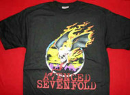 Avenged Sevenfold T-Shirt Flaming Skull Logo Black Size Small
