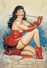 Bettie Page Poster Flag Red Whip Tapestry