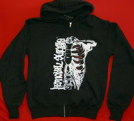 Bleeding Through Zipper Hoodie Sweatshirt Logo Black Size Medium