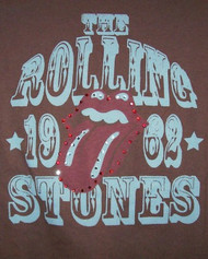 Rolling Stones Babydoll T-Shirt Tongue Logo Brown Size Medium