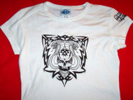 Quaid Babydoll T-Shirt Skull Logo White Size Medium
