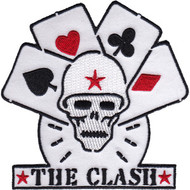 The Clash Iron-On Patch Skull And Cards Logo