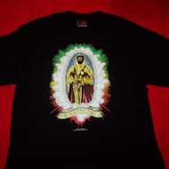 Haile Selassie Long Sleeve T-Shirt Rastafari Black Size Medium