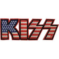 Kiss Iron-On Patch American Flag Letters Logo