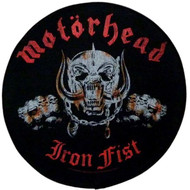 Motorhead Sew On Canvas Back Patch Round Iron Fist Logo