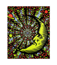 Moon And Stars Blacklight Tapestry Cloth Wall Hanging