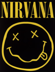 Nirvana Vinyl Sticker Rectangle Smiley Face Logo