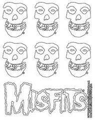 Misfits Vinyl Sticker Set White Skulls 7 Mini Stickers