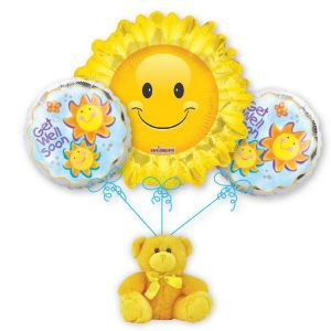 Darling balloon bouquet.  Adds sunshine to any room.
