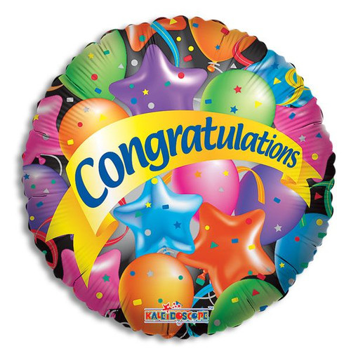 Congratulations Mylar Balloon, (style may vary, but sentiment will remain same)