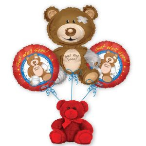 Darling balloon bouquet with Get Well sentiment. Sure to brighten any room!