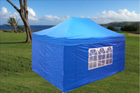 Blue 10'x15' Pop up Tent with 4 Sidewalls - F Model Upgraded Frame