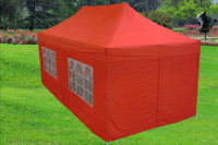 Red 10'x20' Pop up Tent with 6 Sidewalls - F Model Upgraded Model