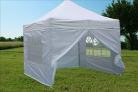 White 10'x10' Pop up Tent with 4 Sidewalls - F Model Upgraded Frame
