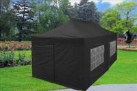 Black 10'x20' Pop up Tent with 6 Sidewalls - F Model Upgraded Frame