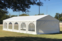 PE Party Tent 32'x16' with Waterproof Top - Heavy Duty Wedding Carport - White