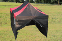 Black Red 10'x15' Pop up Tent with 4 Sidewalls - F Model Upgraded Frame