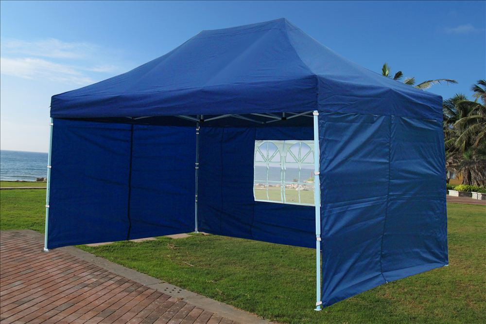 White 10/'x15/' Pop Up Canopy Party Tent F Model Upgraded Frame Navy Blue