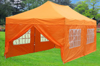 Orange 10'x20' Pop up Tent with 6 Sidewalls - F Model Upgraded Frame