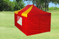 Red Yellow 10'x15' Pop up Tent with 4 Sidewalls - F Model Upgraded Frame