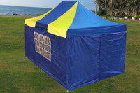Blue Yellow 10'x15' Pop up Tent with 4 Sidewalls - F Model Upgraded Frame