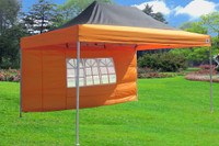 Black Orange 10'x15' Pop up Tent with 4 Sidewalls - F Model Upgraded Frame