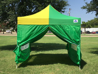 Green Yellow 10'x10' Pop up Tent with 4 Sidewalls - F Model Upgraded Frame