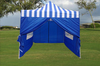Blue Stripe 10'x10' Pop up Tent with 4 Sidewalls - F Model Upgraded Frame