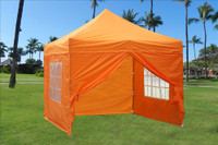 Orange 10'x10' Pop up Tent with 4 Sidewalls - E Model