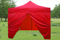 Red 10'x10' Pop up Tent with 4 Sidewalls - E Model