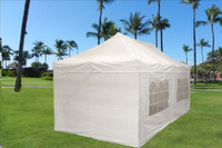 White 10'x20' Pop up Tent with 6 Sidewalls - E Model