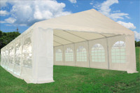PE Party Tent 40'x16' with Waterproof Top - Heavy Duty Wedding Canopy - White