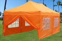 Orange 10'x20' Pop up Tent with 6 Sidewalls - E Model