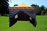 Orange Flame 10'x15' Pop up Tent with 4 Sidewalls - F Model Upgraded Frame