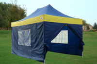 Navy Blue Yellow 10'x15' Pop up Tent with 4 Sidewalls - E Model