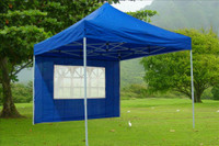 Blue 10'x10' Pop up Tent with 4 Sidewalls - F Model Upgraded Frame