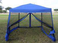 8'x8'/10'x10' Blue Slant Leg - Pop up Tent with Mosquito Net