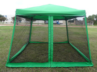 8'x8'/10'x10' Green Slant Leg - Pop up Tent with Mosquito Net