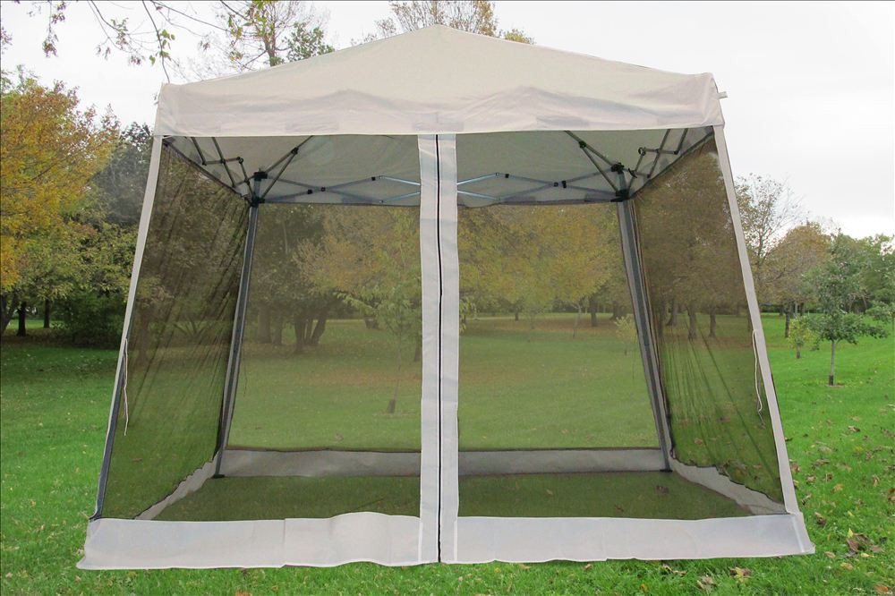 info for a8849 b34fa 8'x8'/10'x10' White Slant Leg - Pop up Tent with Mosquito Net
