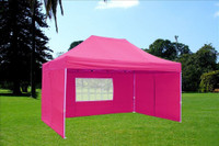 Pink 10'x15' Pop up Tent with 4 Sidewalls - F Model Upgraded Frame