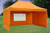 Orange 10'x15' Pop up Tent with 4 Sidewalls - F Model Upgraded Frame