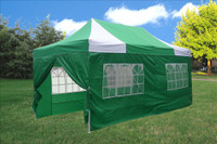 Green White 10'x20' Pop up Tent with 6 Sidewalls - E Model