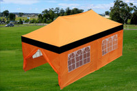 Black Orange 10'x20' Pop up Tent with 6 Sidewalls - E Model