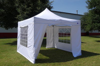 White 10'x10' Pop up Tent with 4 Sidewalls - Fire Retardant - F Model Upgraded Frame